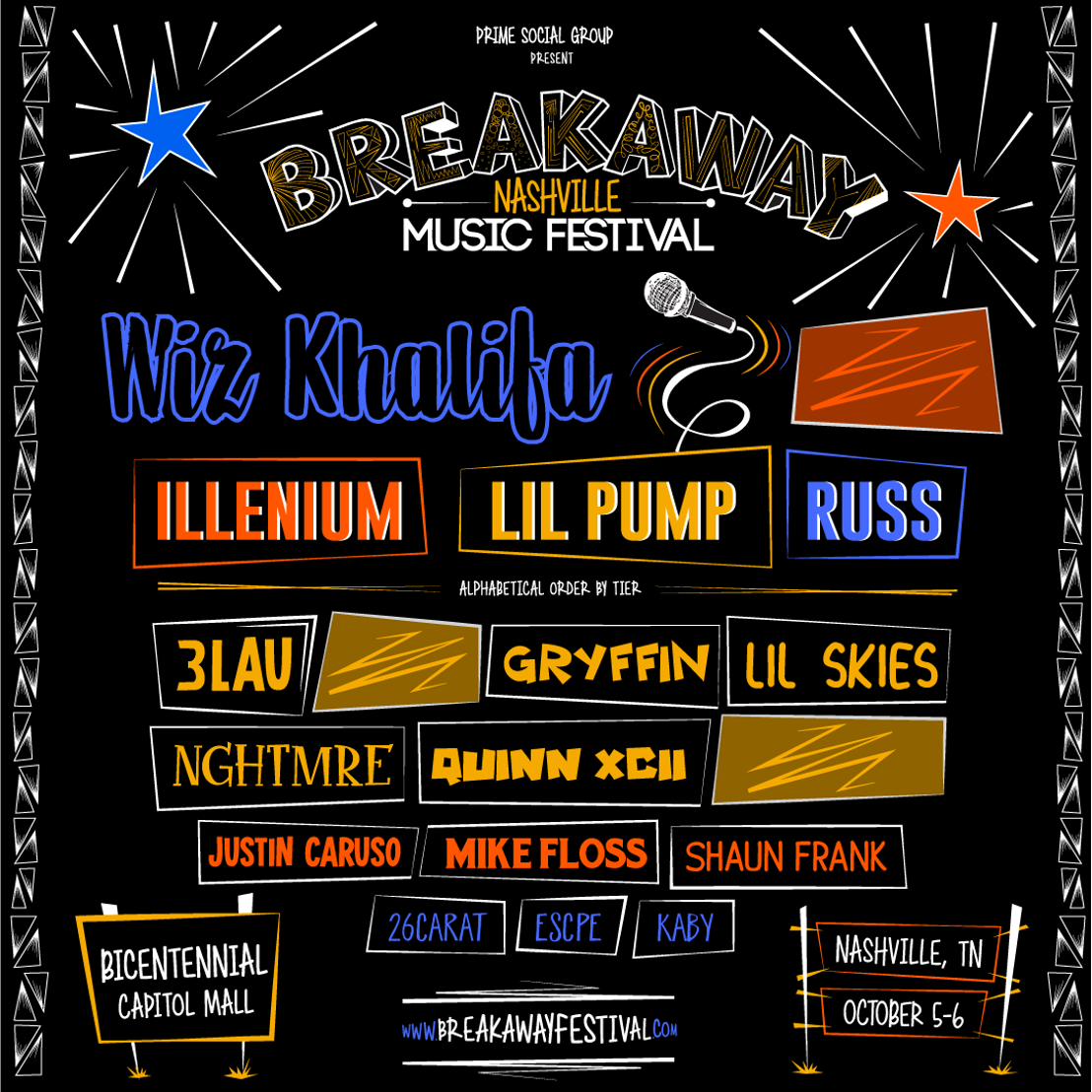 Prime Social Group Announces the Highly Anticipated Phase One Lineup for Breakaway Music Festival in Nashville, TN